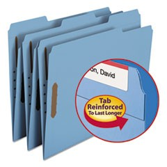 Folders, Two Fasteners, 1/3 Cut Assorted Top Tab, Letter, Blue, 50/Box