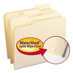 WaterShed Top Tab File Folders, 1/3-Cut Tabs, Letter Size, Manila, 100/Box