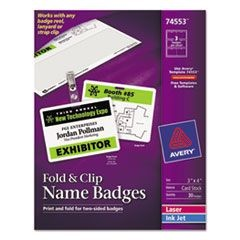 Fold & Clip Badges, 3 x 4, White, 30/Box