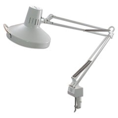 "Three-Way Incandescent/Fluorescent Clamp-On Lamp, 9.38""w x 9.38""d x 44.5""h, White"
