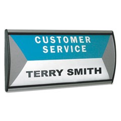 People Pointer Wall/Door Sign, Aluminum Base, 8.5 x 3.75, Black/Silver
