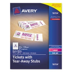 Printable Tickets w/Tear-Away Stubs, 8 1/2 x 11, White, 10/Sheet, 20Sheets/Pack