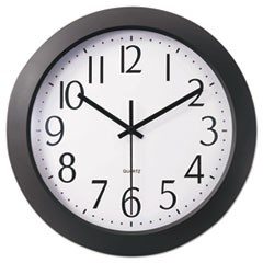 "Whisper Quiet Clock, 12"" Overall Diameter, Black Case, 1 AA (sold separately)"