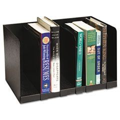 Six Section Book Rack w/Dividers, Steel, 15 x 9 1/4 x 9 1/4, Black