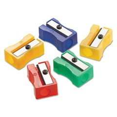 Manual Pencil Sharpeners, Red/Blue/Green/Yellow, 4w x 2d x 1h, 24/Pack