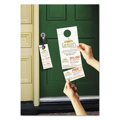 Door Hanger w/Tear-Away Cards, 4 1/4 x 11, Matte White, 10/Sheet 40 Sheets/Pack