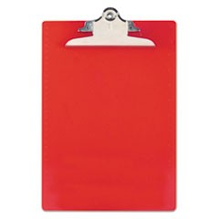 "Recycled Plastic Clipboards, 1"" Capacity, Holds 8 1/2w x 12h, Red"