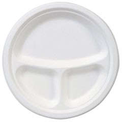"EcoSmart Molded Fiber Dinnerware, 3-Compartment Plate, White,10""Dia, 500/Carton"