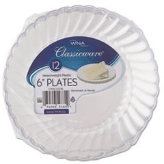 "Classicware Plastic Plates, 6"" Diameter, Clear, 12 Plates/Pack"