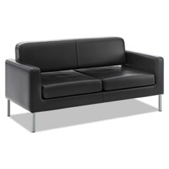 Corral Reception Seating Sofa, 67w x 28d x 30.5h, Black SofThread Leather