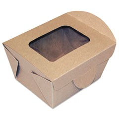 Windowed Food Container, Kraft, 4 5/16 x 3 5/8 x 3 5/64, 50/Pack, 9 Pack/Carton