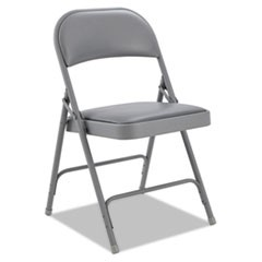 Steel Folding Chair with Two-Brace Support, Padded Back/Seat, Light Gray, 4/CT