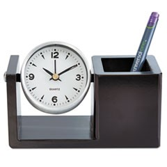 Executive Desk Clock, Brushed Nickel/Dark Cappuccino