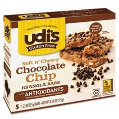 Gluten Free Granola Bars, Chocolate Chip Antioxidant, 1.23 oz Bar, 5/Box