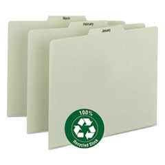 100% Recycled Monthly Top Tab File Guide Set, 1/3-Cut Top Tab, January to December, 8.5 x 11, Green, 12/Set