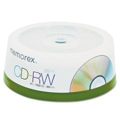 CD-RW Discs, 700MB/80min, 4x, Spindle, Silver, 25/Pack