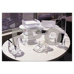 Stratus Acrylic Memo & Paper Clip Holder, 2-Compartment, 7 x 5 x 2 1/2, Clear