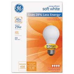 Energy-Efficient A19 Halogen Bulb, 29 W, Soft White, 4/Pack