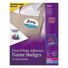 Flexible Oval Self-Adhesive Laser/Inkjet Name Badge Label, 3 1/4 x 2, WE, 160/PK