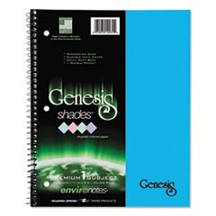 One-Subject Genesis Shades Notebook, 8 1/2 x 11, College Rule, Blue, 34 Sheets