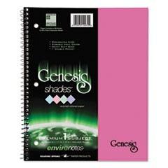 One-Subject Genesis Shades Notebook, 8 1/2 x 11, College Rule, Pink, 34 Sheets