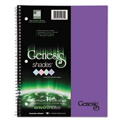 One-Subject Genesis Shades Notebook, 8 1/2 x 11, College Rule, Purple, 34 Sheets