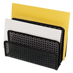 "Urban Collection Punched Metal Letter Sorter, 3 Sections, DL to A6 Size Files, 6.5"" x 3.25"" x 5.5"", Black"