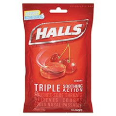 Triple Action Cough Drops, Cherry, 30/Bag