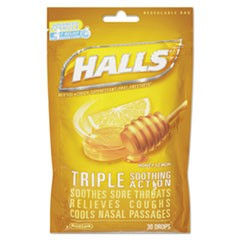 Triple Action Cough Drops, Honey-Lemon, 30/Bag, 12 Bags/Box