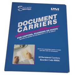 "Document Carrier for Copying, Scanning, Faxing, 8 1/2"" x 11"", Clear, 10/Pack"