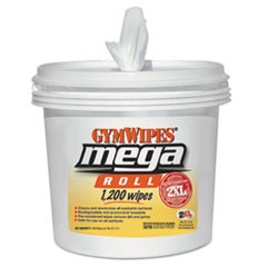 Gym Wipes Mega Roll, 8 x 8, White, 1200 Wipes/Bucket, 2 Buckets/Carton