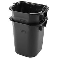 Executive Heavy Duty Pail, Black, Plastic, 5 Quarts, 9.3Wx7.5Dx8.5H, 4/Crtn