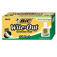 1Wite-Out Extra Coverage Correction Fluid, 20 ml Bottle, White, 1/Dozen