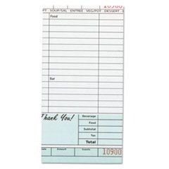 Guest Check Book, Carbonless Duplicate, 4 1/5 x 8 1/4, 50/Book, 50/Carton