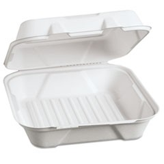 Harvest Fiber Hinged Containers, 9 x 9 x 3, 100/PK, 2 PK/CT