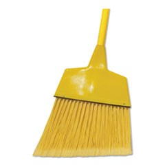 "Poly Fiber Angled-Head Lobby Brooms, 55"", Yellow Lacquered Wood Handle, 12/Carton"