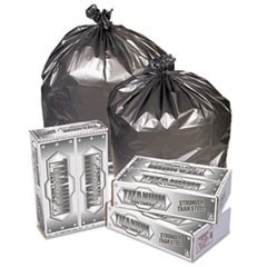 Titanium Low-Density Can Liners, 55-60 gal, 1.7 mil, 39 x 57, Silver, 50/Carton
