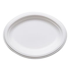 "Renewable and Compostable Sugarcane Plates, Oval - 10"" x 7"", 50/Packs, 10 Packs/Carton"