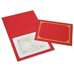 7510016272960, Gold Foil Document Cover, 12 1/2 x 9 3/4, Red, 6/Pack