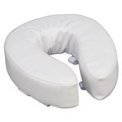 "Vinyl Cushion Toilet Seat, 4"" Riser, White"