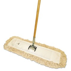"1Cut-End Dust Mop Kit, 36 x 5, 60"" Wood Handle, Natural"