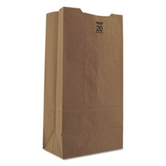 #20 Paper Grocery Bag, 50lb Kraft, Heavy-Duty 8 1/4 x 5 5/16 x 16 1/8, 500 bags
