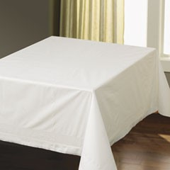 "1Tissue/Poly Tablecovers, Square, 82"" x 82"", White, 25/Carton"