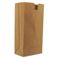 #16 Paper Grocery Bag, 50lb Kraft, Heavy-Duty 7 3/4 x 4 13/16 x 16, 500 bags
