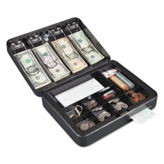 Hercules Cash Box, Keylock, Coin and Cash, 11 7/8 x 9 1/2 x 3 3/4, Charcoal Gray
