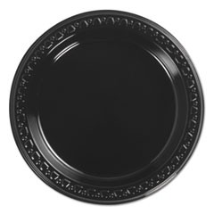 Heavyweight Plastic Plates, 6 Inch, Black, Round, 125/BG, 8 BG/CT