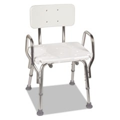 Shower Chair with Arms, White, 20 3/4 x 20 1/2 x 28 1/2-32 1/2