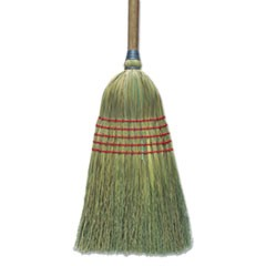 "Corn Broom, 56"", Lacquered Wood Handle, Natural, 6/Carton"