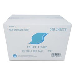 Small Roll Bath Tissue, 2-Ply, White, 500 Sheets/Roll, 96/Carton