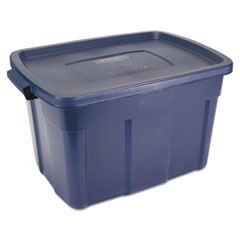 Roughneck Storage Box, 25 gal, Dark Indigo Metallic, 9/Carton